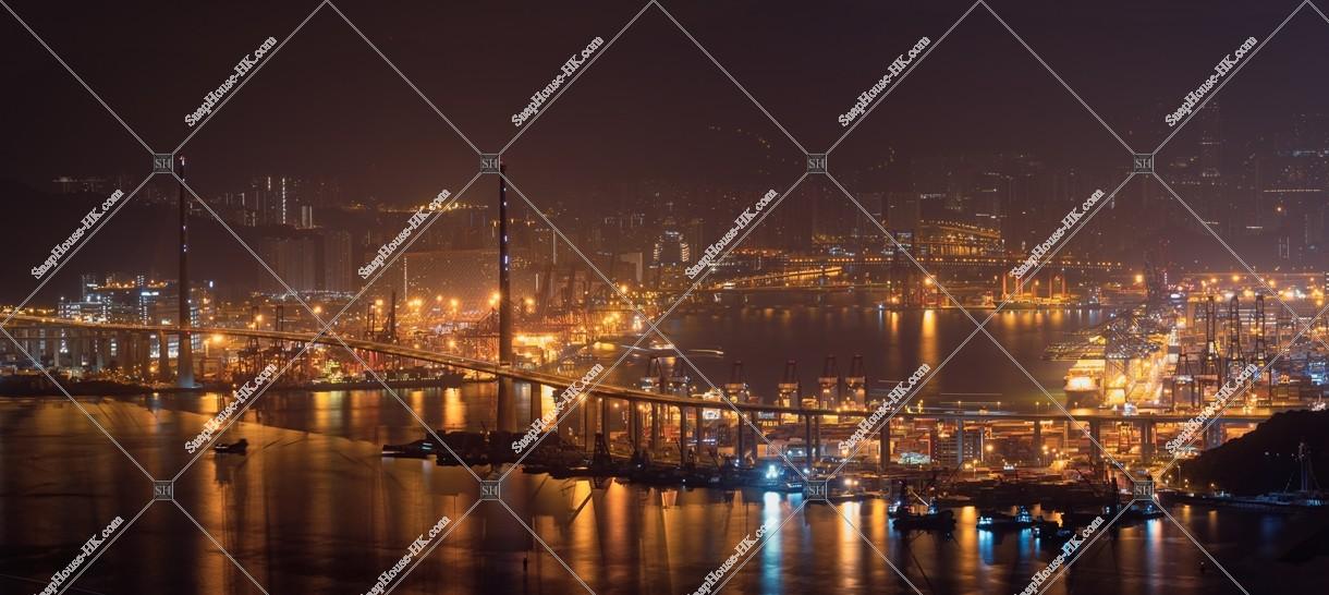 昂船洲大橋(ストーンカッターズ橋)の夜景 その③ | 香港の写真素材 ...