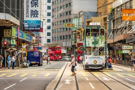 上環 德輔道中の街並みと香港トラム その③