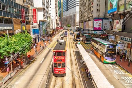 銅鑼灣の街並みの風景と香港トラム その①