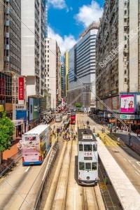 銅鑼灣の街並みの風景と香港トラム その③