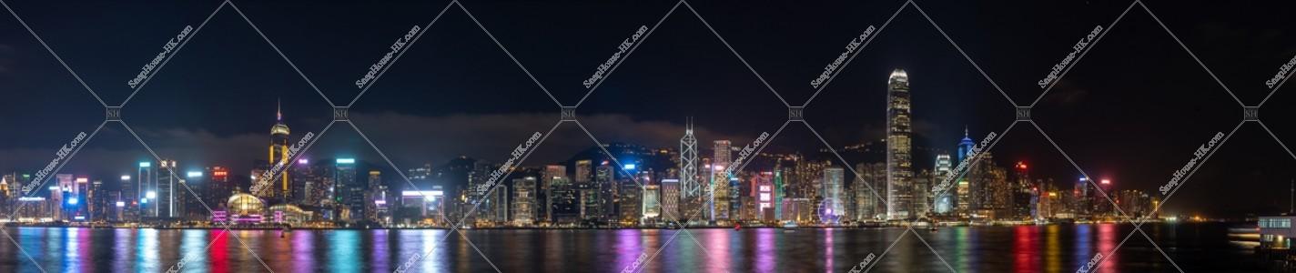 尖沙咀から見る香港島の高層ビル群のパノラマ夜景  その③