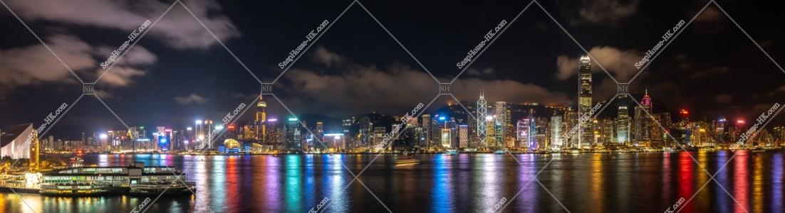 尖沙咀から見る香港島の高層ビル群のパノラマ夜景  その④