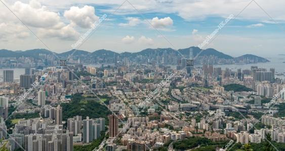獅子山から見る香港島と九龍半島の風景 その③