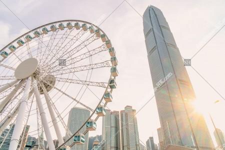 セントラル(中環) 夕方の香港観覧車とifc2 その①
