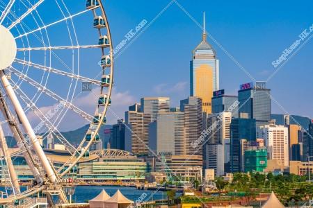 香港観覧車と湾仔(灣仔)の高層ビル群の風景 その①