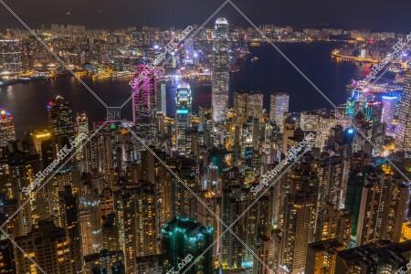 ヴィクトリア・ピークから見る香港の都市の夜景 その④