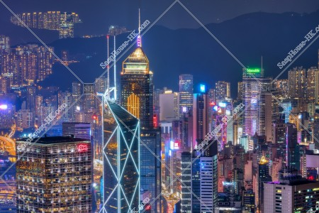 ヴィクトリア・ピークから見る香港島の夜景 その④
