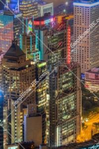 セントラル(中環) 夜のHSBC本店ビル