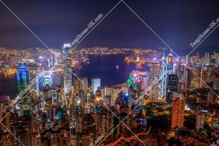 ヴィクトリア・ピークから見る香港の都市の夜景 その⑨