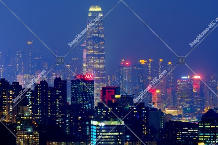 香港島の高層ビル群の夜景 その①