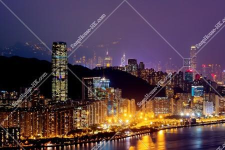 香港島の高層ビル群の夜景 その②
