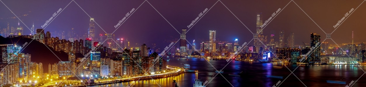 香港島と九龍半島のパノラマ夜景 その①