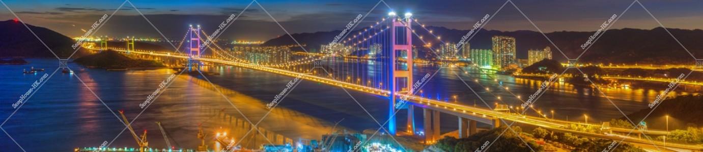 夜の青馬大橋のパノラマ風景 その①