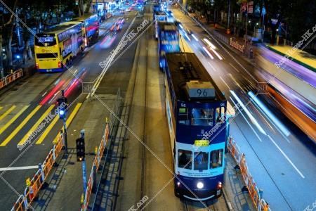 天后 夜の香港トラム