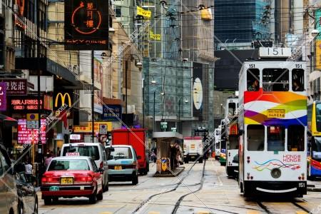上環 德輔道中の街並みと香港トラム