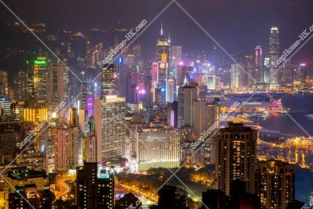 銅鑼灣からセントラル(中環)の高層ビル群の夜景 その③