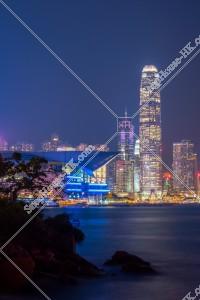 海辺とセントラル(中環)の」高層ビルの風景  [縦向き]