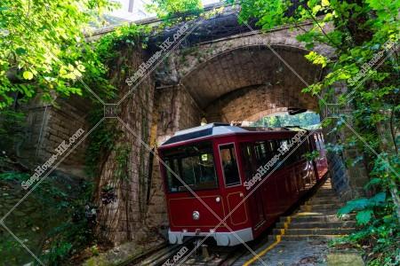古いトンネルを通過するピークトラム