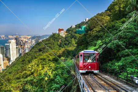 香港島の風景とヴィクトリア・ピーク(山頂)の山道を走るピークトラム その②