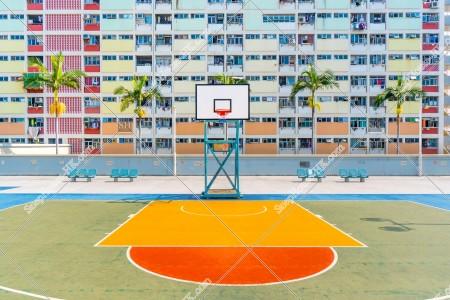 彩虹邨とバスケットゴール [横向き][アップ撮影]
