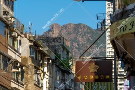 九龍城の古い街並みと獅子山
