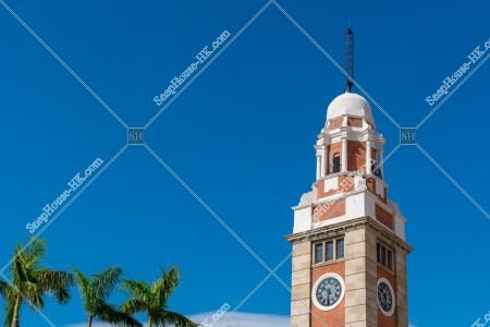 尖沙咀 時計台(尖沙咀鐘樓)と青空