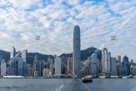 朝のセントラル(中環)の高層ビルの風景