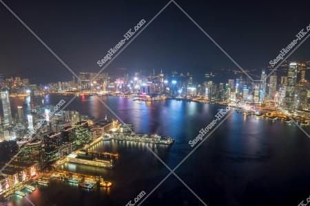 九龍 尖沙咀と香港島都市部の夜景 その②