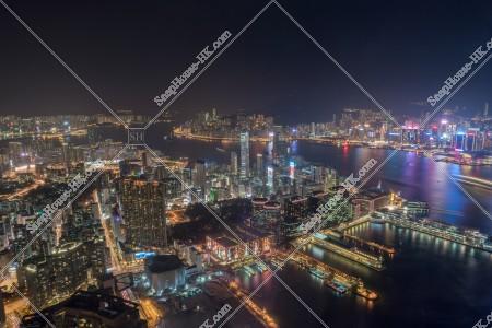 九龍南側と香港島 湾仔(灣仔)~北角の夜景