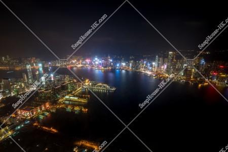 九龍 尖沙咀と香港島都市部の夜景 その③
