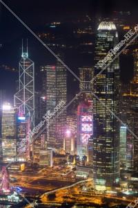 セントラル(中環) 中国銀行タワーと長江集團中心と国際金融中心 第二期(ifc2)の夜景