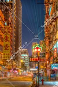 油麻地 上海街の街並みから見えるシンフォニー・オブ・ライツのレーザーショー その②