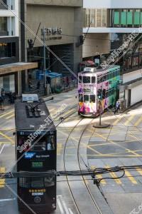 セントラル(中環) すれ違う香港トラム