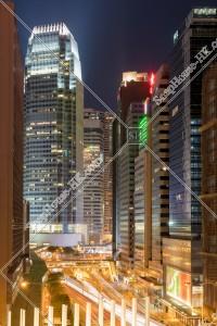 セントラル(中環) 干諾道中と国際金融中 第一期の夜景