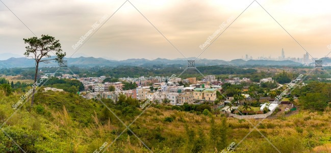 坪洋 草原と住宅街のパノラマ風景 その②