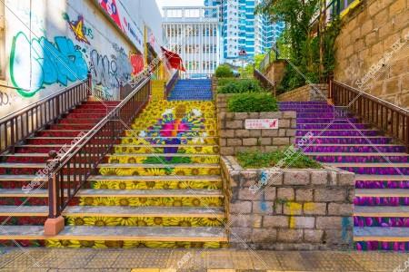油麻地 眾坊街の階段の風景 その①
