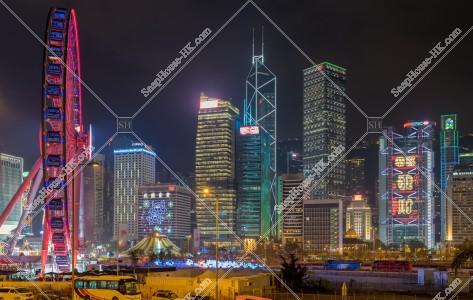 セントラル(中環) ビジネス地域のビル群の旧正月の夜景(「恭喜發財」のライトアップ) その③