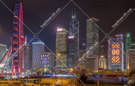 セントラル(中環) ビジネス地域のビル群の旧正月の夜景(「福」のライトアップ) その③