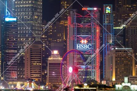 セントラル(中環) ビジネス地域のビル群 の夜景 その②