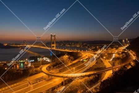 青馬大橋とインターチェンジの夜景 その①