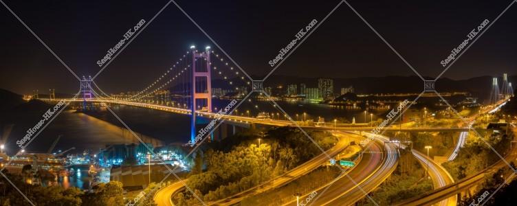 青馬大橋のパノラマ夜景 その①