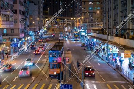 西灣河 筲箕灣道の夜の風景 その①
