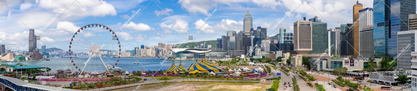 香港観覧車と灣仔~中環のパノラマ風景