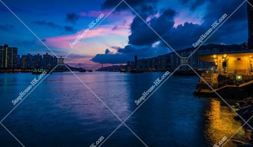 荃灣西と青衣、汀九橋の夜景 その①