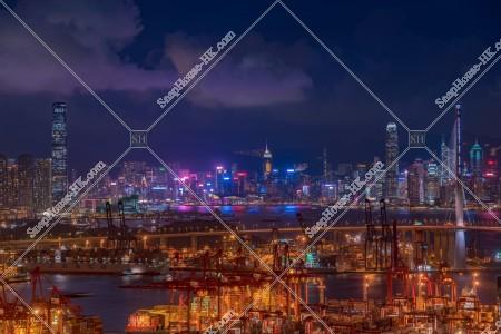葵青コンテナターミナル(葵青貨櫃碼頭)、西九龍、香港島の夜景 その②