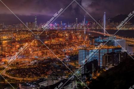 葵青コンテナターミナル(葵青貨櫃碼頭)、西九龍、香港島の夜景 その④