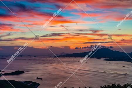 大嶼山(ランタオ島)から見る夕日 その⑤