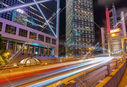 セントラル(中環) 金融関連の高層ビル群の夜景 その①