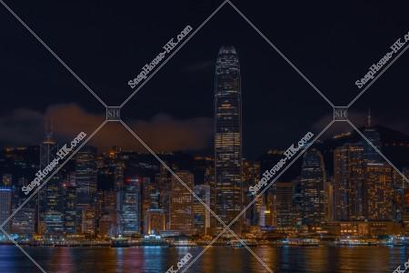 尖沙咀から見るセントラル(中環)の高層ビル群の夜景  その⑤