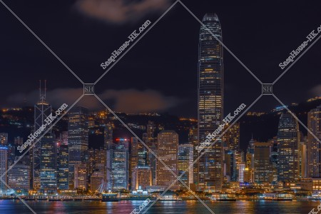 尖沙咀から見るセントラル(中環)の高層ビル群の夜景  その⑥